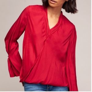 """MAGGIE Red """"SILKY"""" Surplice top"""